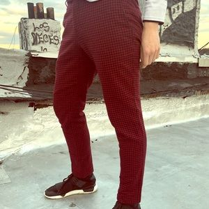 Other - SOLD Noose & Monkey Wool Houndstooth Red Pants